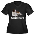 Saint Bernard Women's Plus Size V-Neck Dark T-Shir
