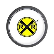Yellow Railroad Crossing Wall Clock