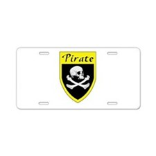 Pirate Yellow Patch Aluminum License Plate