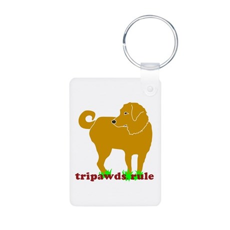 Golden Tripawds Rule Aluminum Photo Keychain