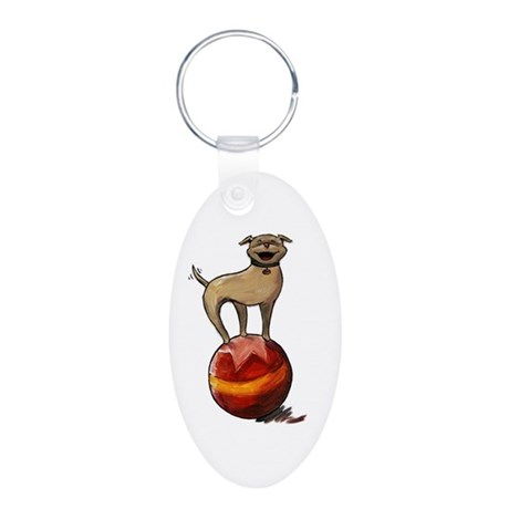 Tripawds Have A Ball Aluminum Oval Keychain