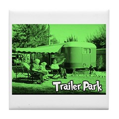 Trailer Park Green Vintage Tile Coaster