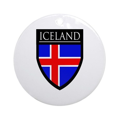 Iceland Flag Patch Ornament (Round)