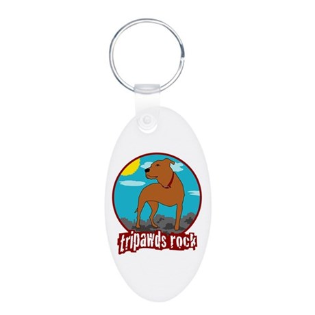 Tripawds Rock (Trouble) Aluminum Oval Keychain