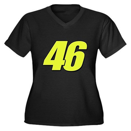 VR 46 Women's Plus Size V-Neck Dark T-Shirt