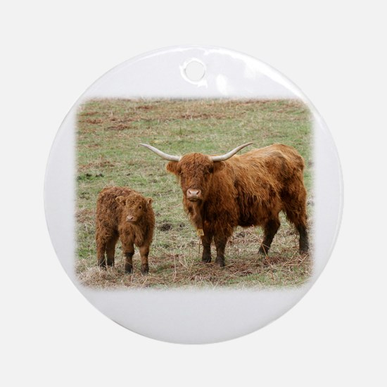 Highland Cow with calf 9Y316D-048 Ornament (Round)