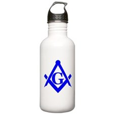 Blue Square and Compass Water Bottle