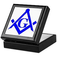 Blue Square and Compass Keepsake Box