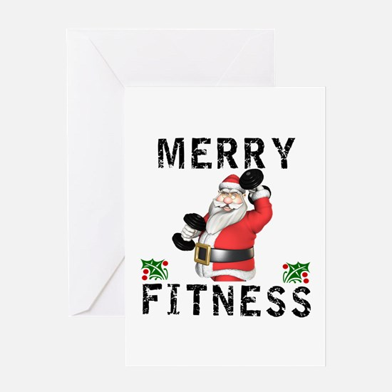 Merry Fitness Santa Greeting Cards