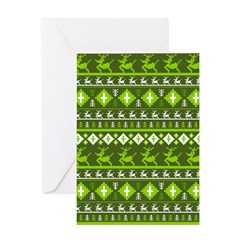 Christmas Reindeer Stripe Greeting Card