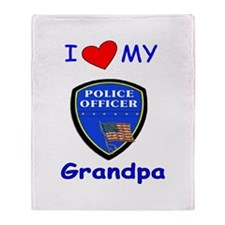I Love My Police Grandpa Throw Blanket