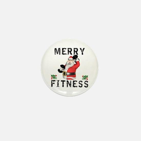 Merry Fitness Santa Mini Button