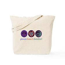 PEACE HEART BASEBALL Tote Bag