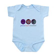 PEACE HEART BASEBALL Infant Bodysuit