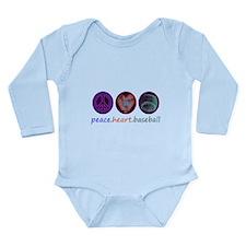 PEACE HEART BASEBALL Long Sleeve Infant Bodysuit
