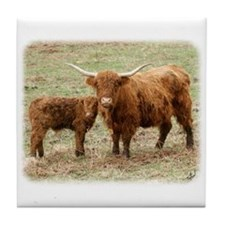 Highland Cow and calf 9Y316D-045 Tile Coaster