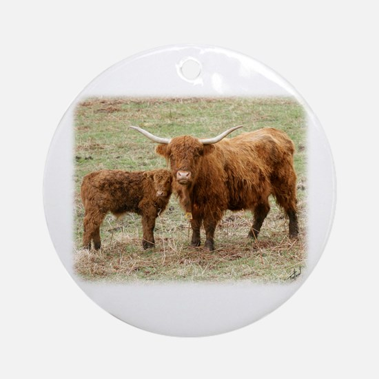 Highland Cow and calf 9Y316D-045 Ornament (Round)