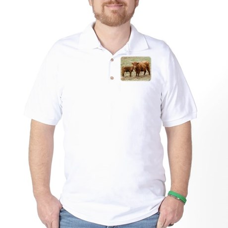 Highland Cow and calf 9Y316D-045 Golf Shirt