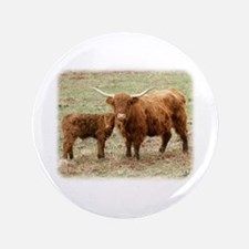 """Highland Cow and calf 9Y316D-045 3.5"""" Button"""