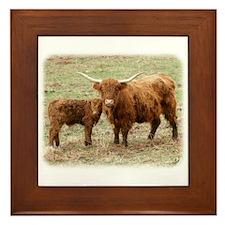 Highland Cow and calf 9Y316D-045 Framed Tile