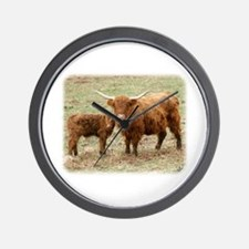 Highland Cow and calf 9Y316D-045 Wall Clock