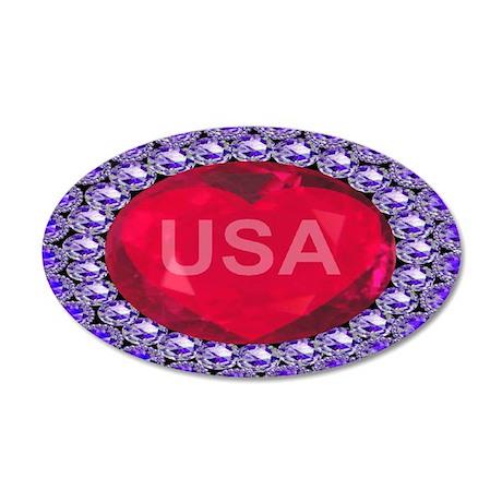 USA Ruby Heart 38.5 x 24.5 Oval Wall Peel