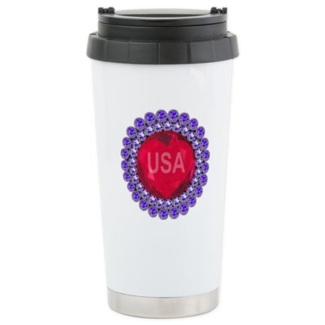 USA Ruby Heart Stainless Steel Travel Mug