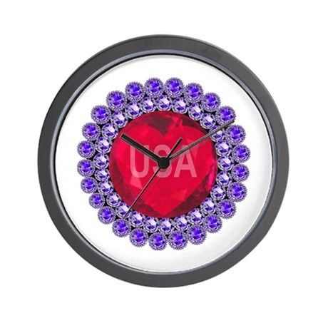 USA Ruby Heart Wall Clock