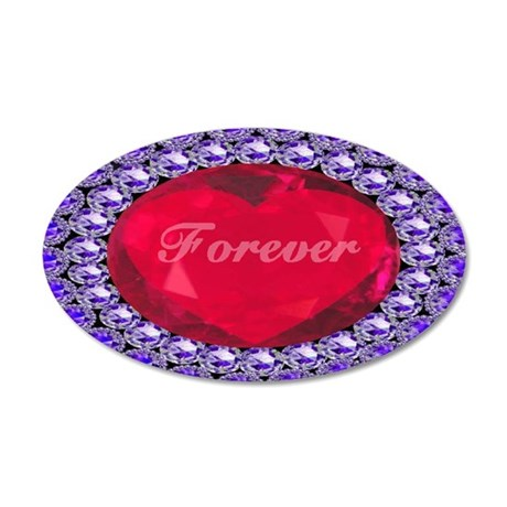 Forever Ruby Heart 38.5 x 24.5 Oval Wall Peel