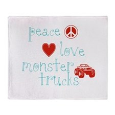 Peace, Love and Monster Truck Throw Blanket