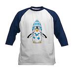 Cute Wooly Hat Penguin Kids Baseball Jersey