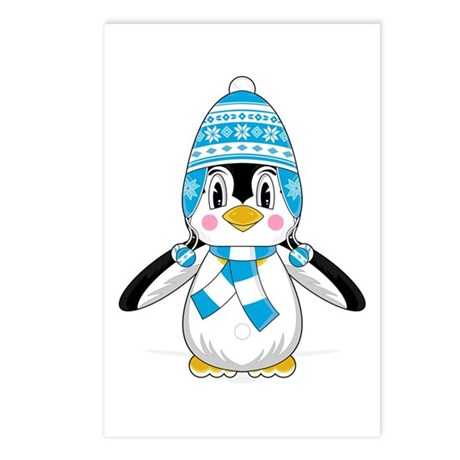 Cute Wooly Hat Penguin Postcards (Pk of 8)