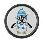 Cute Wooly Hat Penguin Large Wall Clock