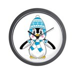 Cute Wooly Hat Penguin Wall Clock