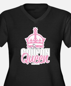 Coupon Queen Women's Plus Size V-Neck Dark T-Shirt