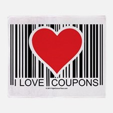 I Love Coupons Throw Blanket