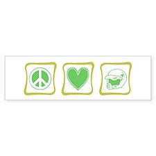 Peace, Love and Dirt Bikes Sq Bumper Sticker