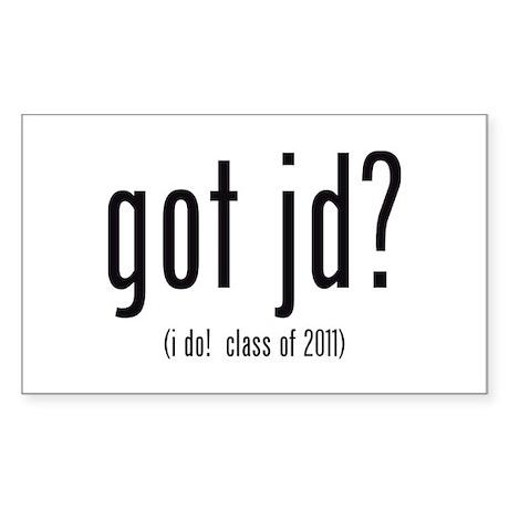 got jd? (i do! class of 2011) Sticker (Rectangle)