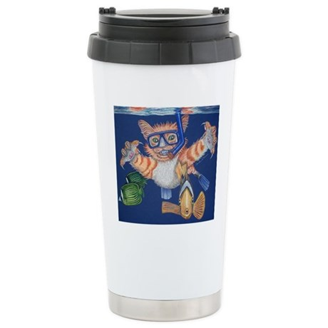 Cat Snorkeling Stainless Steel Travel Mug