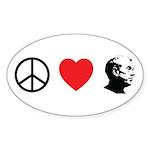 Peace Love Ron Paul Sticker (Oval 50 pk)