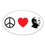 Peace Love Ron Paul Sticker (Oval 10 pk)
