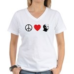 Peace Love Ron Paul Women's V-Neck T-Shirt