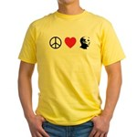 Peace Love Ron Paul Yellow T-Shirt