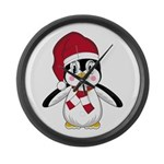 Santa Claus Penguin Large Wall Clock