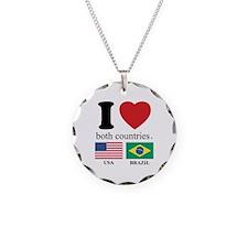 USA-BRAZIL Necklace Circle Charm