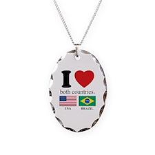 USA-BRAZIL Necklace Oval Charm
