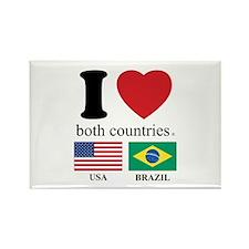 USA-BRAZIL Rectangle Magnet (100 pack)