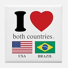 USA-BRAZIL Tile Coaster