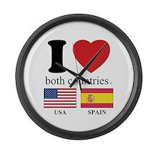 USA-SPAIN Large Wall Clock