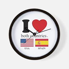 USA-SPAIN Wall Clock